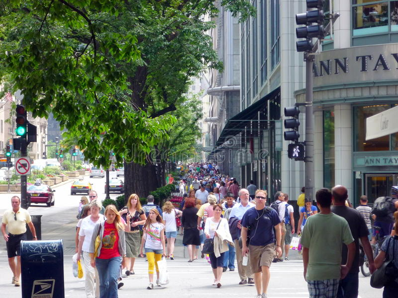 Magnificent Mile. A street view of the Magnificent Mile in Chicago royalty free stock photo