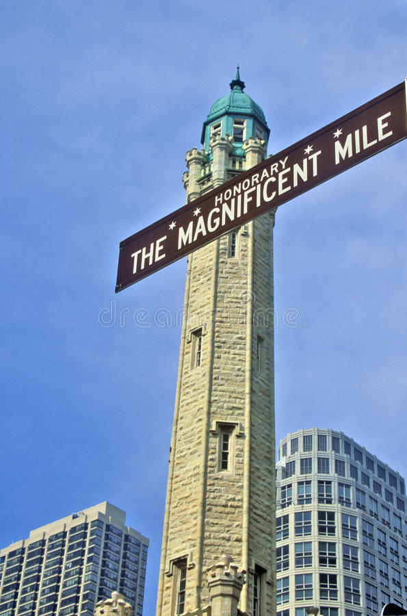The Magnificent Mile Sign with the Water Tower, Chicago, Illinois royalty free stock image