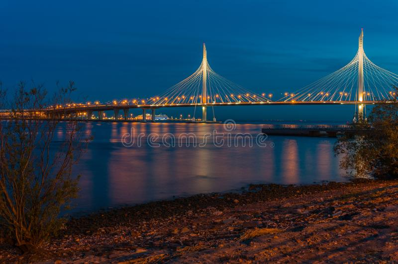 Magnificent modern bridge at night. Cable-stayed bridge of the north-western high-speed diameter through the Petrovsky fairway. St. Petersburg. Russia. Photo stock image