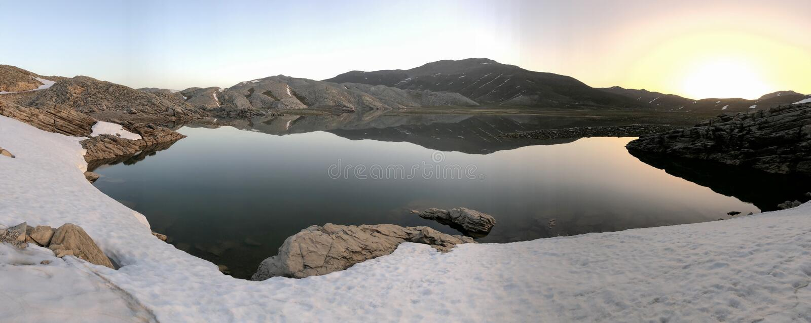 Magnificent mountain lakes, snowmelt and waters. Spectacular views and mountain lakes stock image
