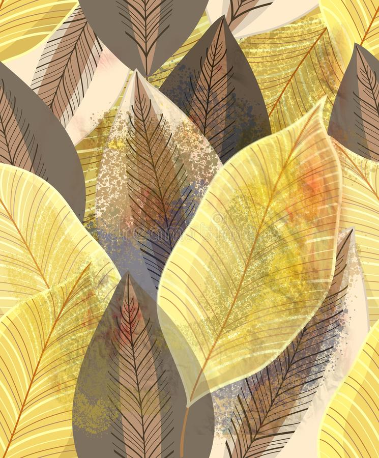 Magnificent multi-colored autumn pattern of gold leaves royalty free stock images