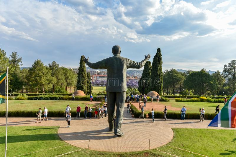 Nelson Mandela Square at Union Buildings, Pretoria, South Africa. Magnificent Nelson Mandela Sculpture with the Pretoria Cityscape at the background from the royalty free stock images