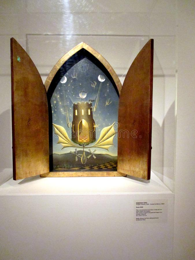 Magnificent painting Icon of Remedios Varo exposed in the Malba - Buenos Aires Argentina. SouthamericanThe sample modern Mexico. Vanguardia y Revolucion traces stock illustration