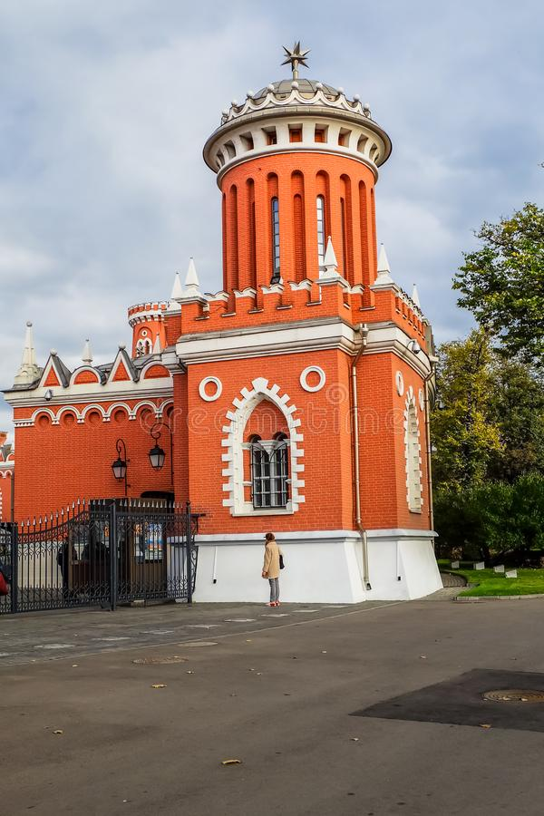 The right one of a pair of towers on the main entrance into the complex of Petroff palace, Moscow, Russia. This magnificent Palace, which is undoubtedly the royalty free stock photos
