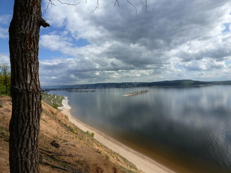 Magnificent panoramic view of the Kuibyshev reservoir from the top of a sandy cliff royalty free stock image