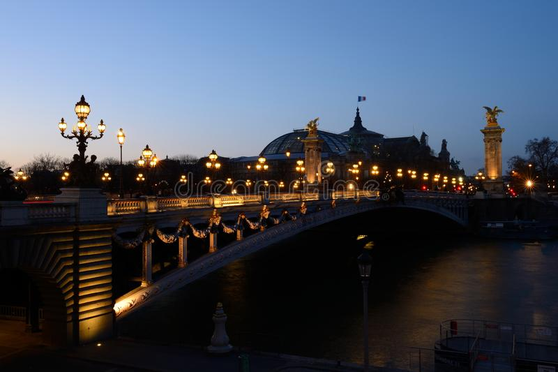 Pont Alexandre III and the Grand Palais stock photo