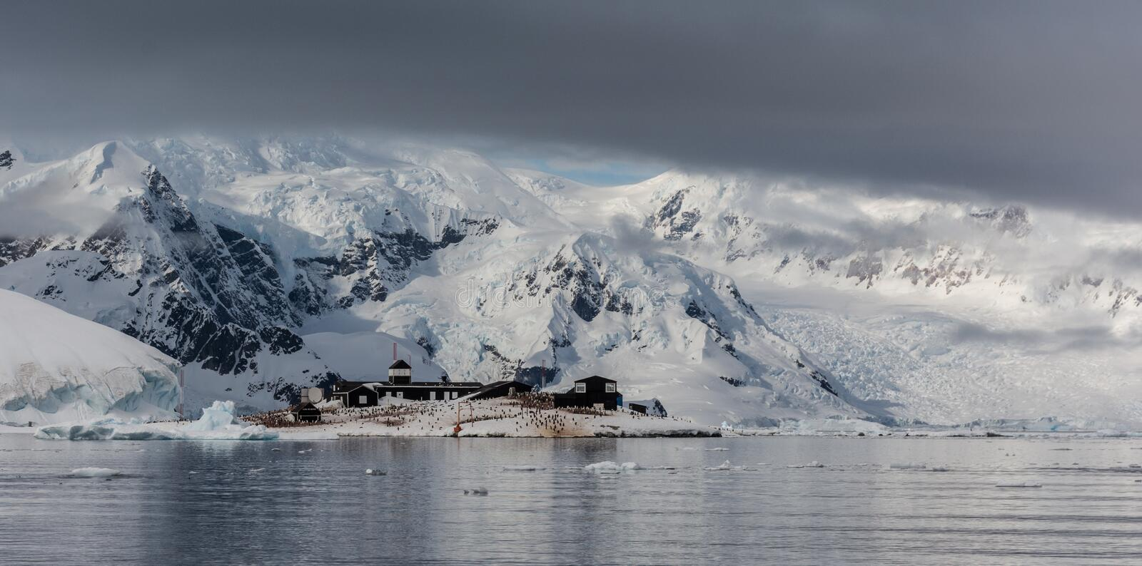Chile`s González Videla Antarctic Base at Waterboat Point, Paradise Bay, Antarctic Peninsula. The magnificent scenery around Chile`s González Videla royalty free stock images
