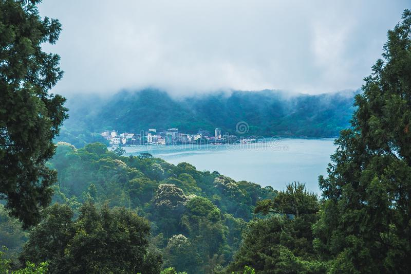 Sun moon lake. A magnificent scenery of Sun Moon Lake from the WenWu temple, Nantou, Taiwan royalty free stock photos