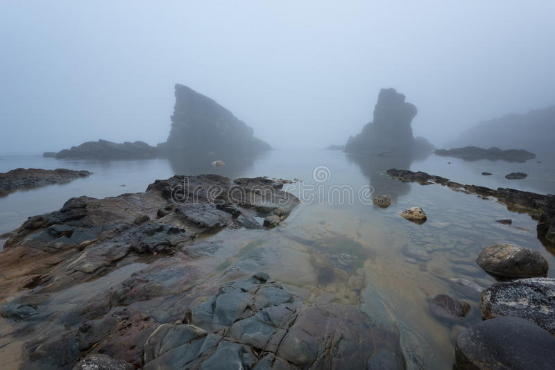 Magnificent seascape over the rock phenomenon The Ships, Sinemorets village, Bulgaria. Foggy weather. stock photo