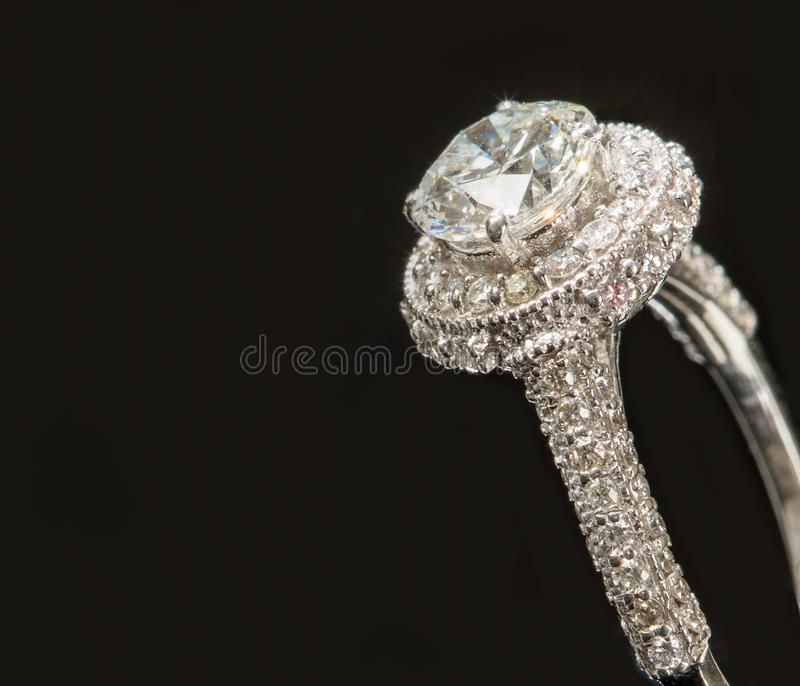 Magnificent Solitaire on a Diamond Ring stock photo