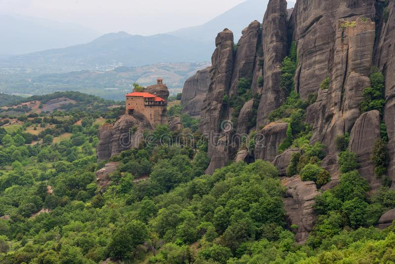 Magnificent spring landscape.Meteora Monasteries Holy Monastery of St. Nicholas Anapausas royalty free stock photo