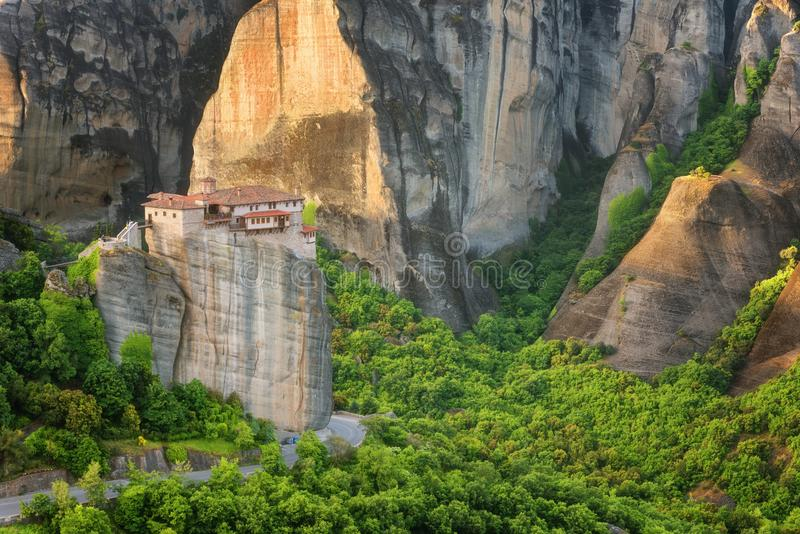 Magnificent spring landscape.Orthodox Monastery of Rousanou St. Barbara royalty free stock image