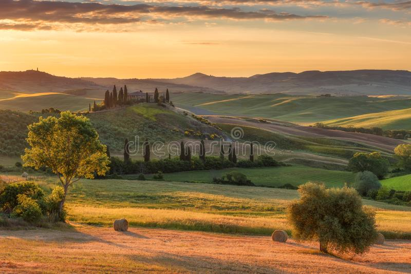 Magnificent spring rural landscape. Stunning view of tuscan green wave hills, amazing sunlight, beautiful golden fields and meadow. S.Tuscany, Italy, Europe stock photography