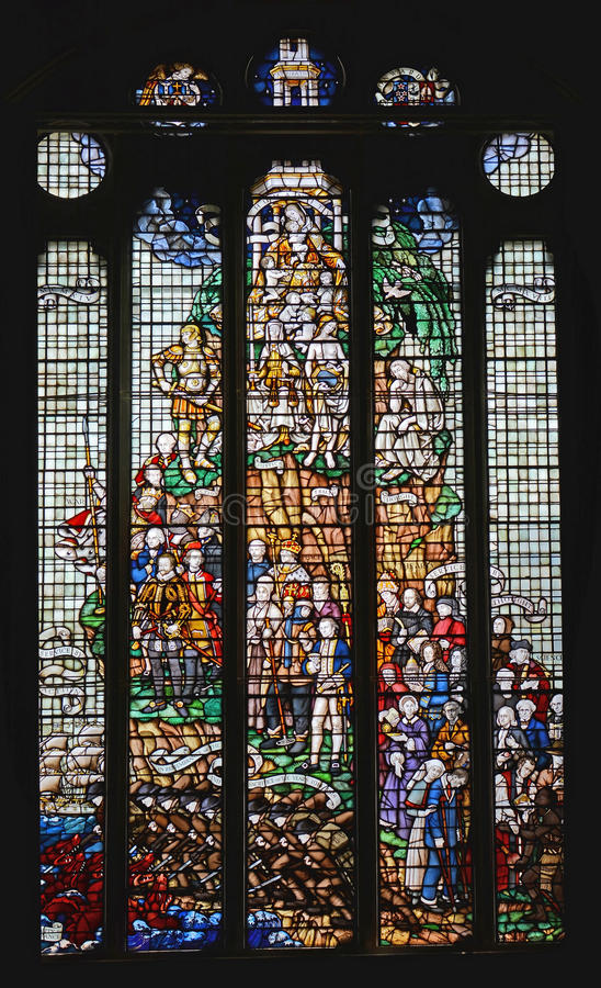 Magnificent Stained Glass Window in Christchurch Great Hall Rest royalty free stock photography