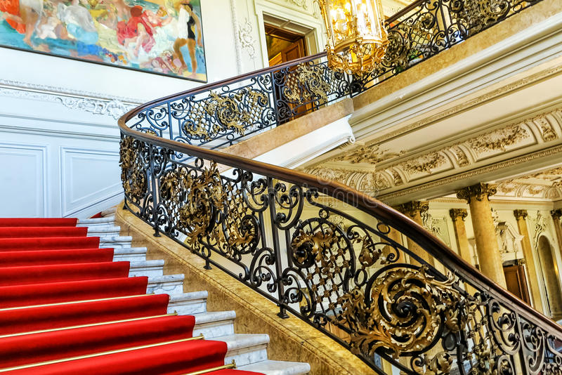 Magnificent stairway entrance to the Phillipsruhe castle museum in Hanau, Germany stock photo
