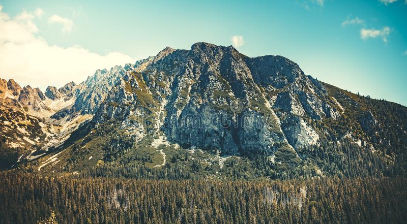 Mountain landscape. The Tatras. Slovakia. The magnificent strong and mighty Tatra Mountains in Slovakia. Majestic peaceful landscape. Wonderful serene place to royalty free stock photos