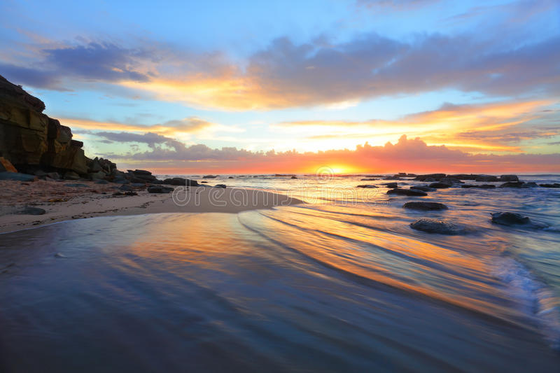 Magnificent Sunrise Morning At The Beach Australia Stock