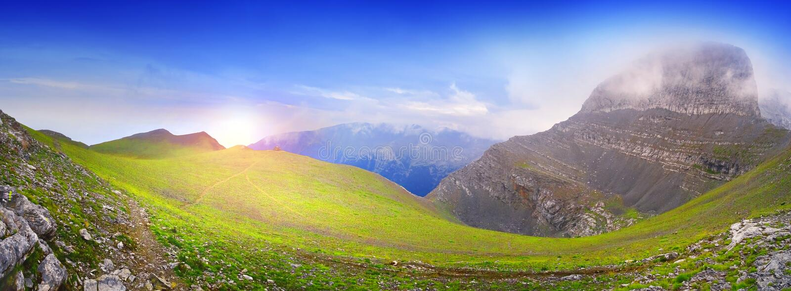 Magnificent sunrise at the mythical Mount Olympus in Greece stock photos