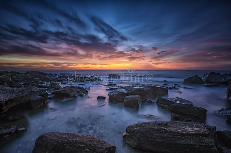 Magnificent sunrise view at the Black sea coast. Near Varna, Bulgaria. Blue hour royalty free stock photo