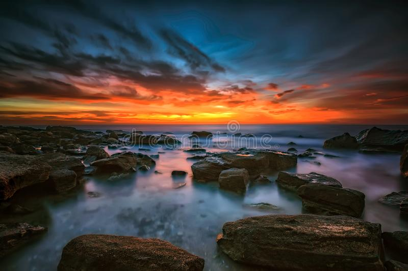 Magnificent sunrise view at the Black sea. Coast near Varna, Bulgaria. Blue hour royalty free stock photography