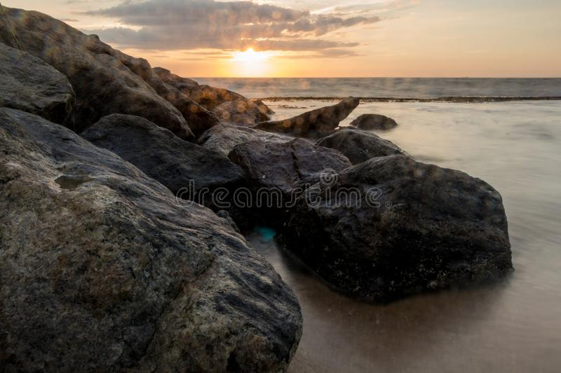A magnificent sunset on the beach stock photo