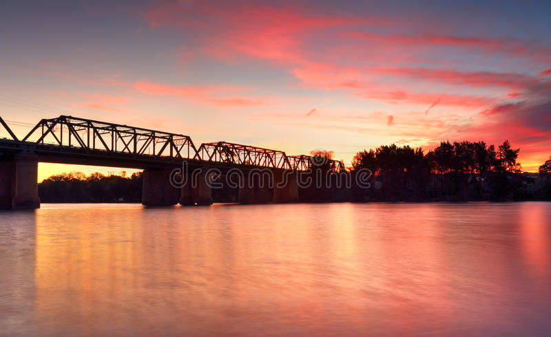 Magnificent sunset Victoria Bridge over Nepean River Penrith stock photography