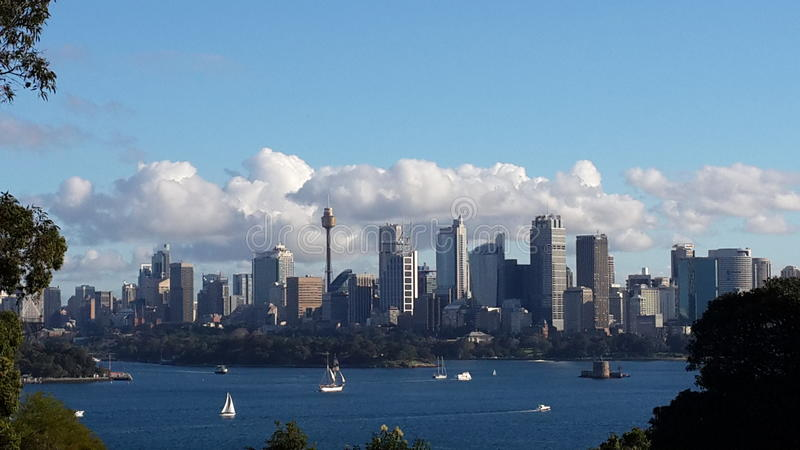 Magnificent Sydney Tough Standing. Sydney from taronga zoo view. Utterly blue water. Boat sailing ride royalty free stock photography