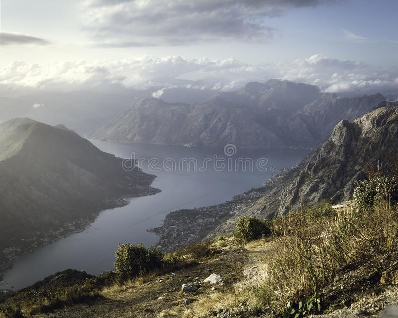 A magnificent view of Kotor Bay at the golden hour time from mountain. Montenegro, Balkans royalty free stock photography