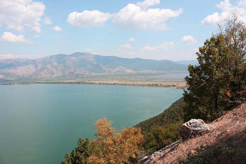 Magnificent view at Prespes Lake Florina Greece. Europe stock images