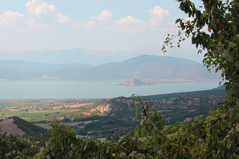 Magnificent view at Prespes Lake Florina Greece. Europe royalty free stock image