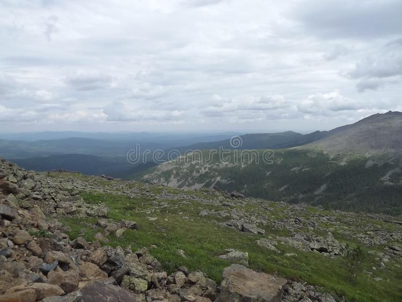 Magnificent view of the Ural mountains. From the plateau of Job at an altitude of 1200 meters royalty free stock photography