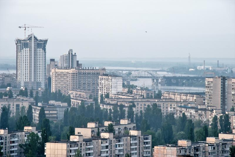 Magnificent view from the window in the beautiful city of Kiev stock photo