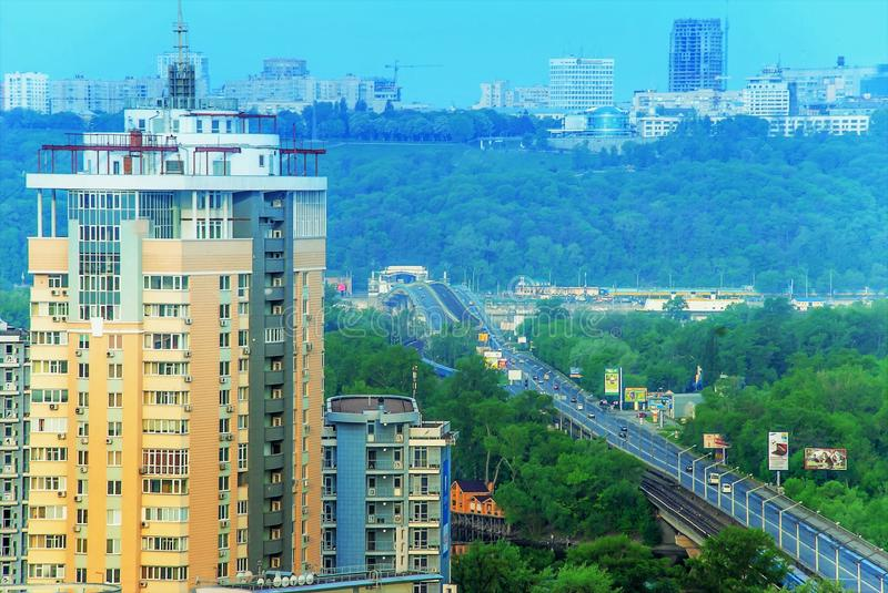 Magnificent view from the window in the beautiful city of Kiev stock photography