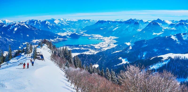 Magnificent view from Zwolferhorn peak, St Gilden, Salzkammergut, Austria. The peak of Zwolferhorn mount attracts tourists and sportsmen to enjoy great panorama royalty free stock photos