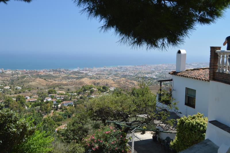 Magnificent Views Of Mijas Beach And Its Beautiful Typical White Buildings From Its Old Town. stock images