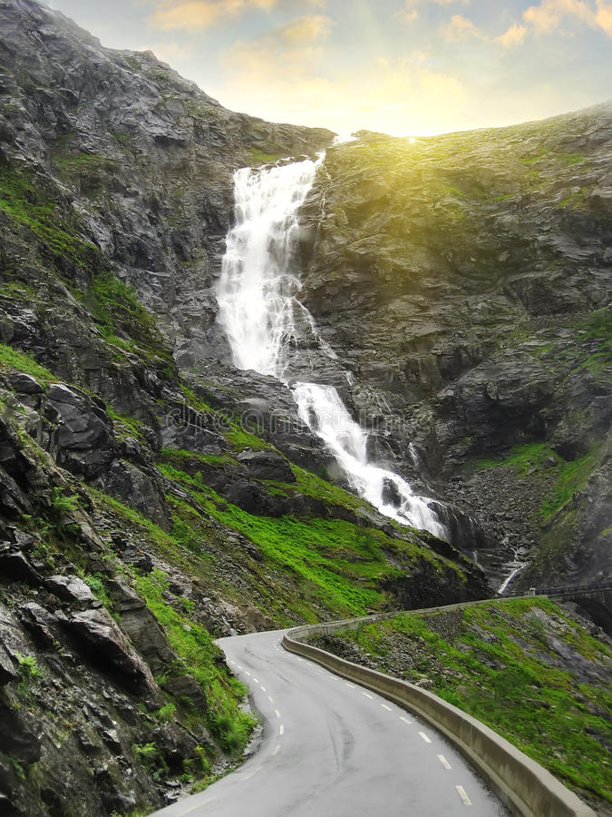 Magnificent waterfall on the Road of Trolls, Norway. Travel background royalty free stock photos