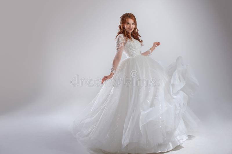 Magnificent Wedding Dress With A Crinoline, Classic Style. Woman ...