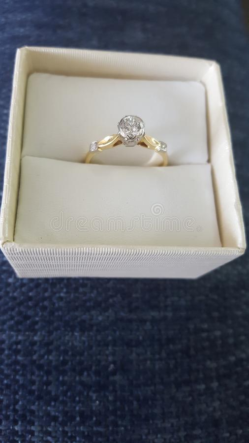 Magnificent well cut solitaire diamond ring mounted on 18 carat gold  set with two small shoulder diamonds. Magnificent flawless well cut diamond ring mounted stock photos