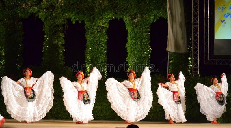 Magnificent white dressed ballerinas stock photos