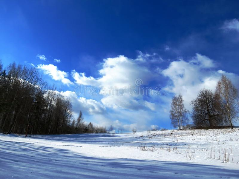 Magnificent winter landscapes on a sunny day stock photos