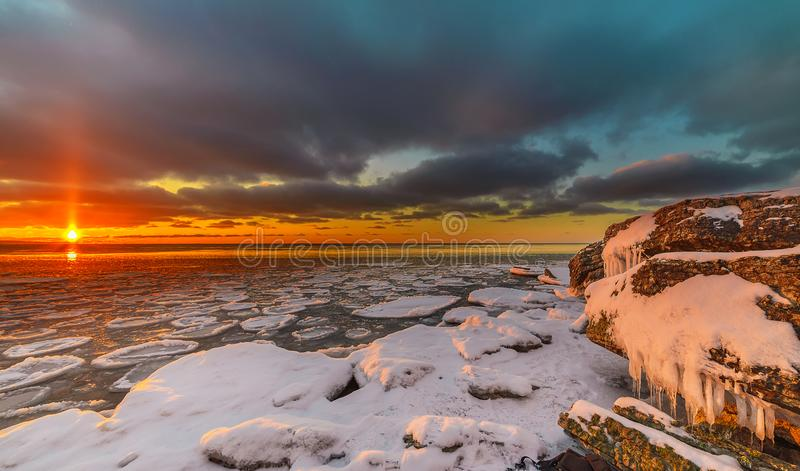 Magnificent winter mountain landscape on the sea. Paldiski cliff. Estonia. Rocky seashore royalty free stock image