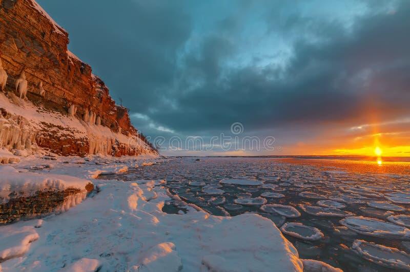 Magnificent winter mountain landscape on the sea. Paldiski cliff. Estonia. Rocky seashore royalty free stock photography