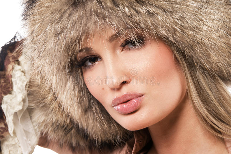 Magnificent woman in fur hat stock image