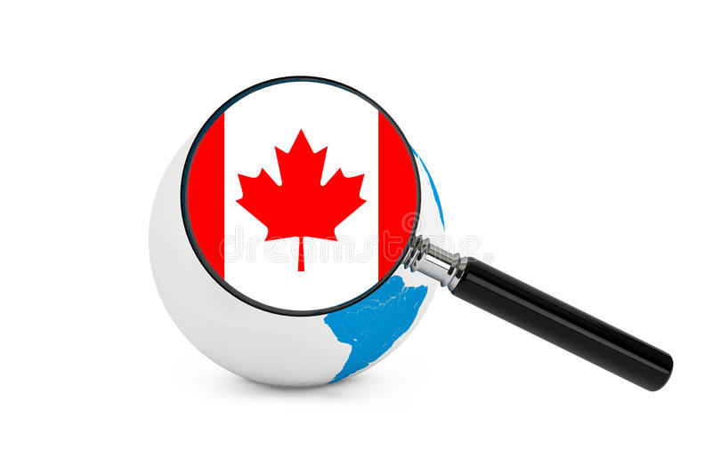 Magnified flag of Canada with Earth Globe. On a white background stock photos