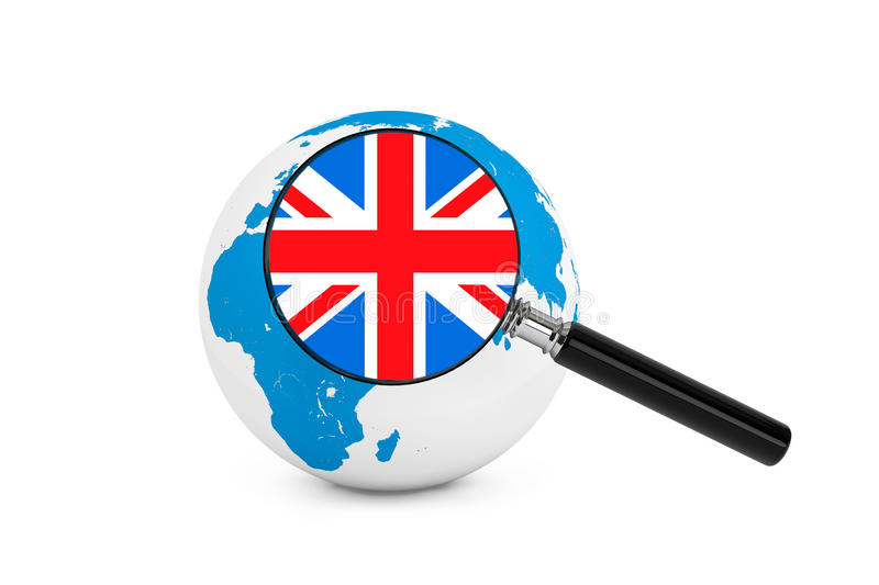 Magnified flag of England with Earth Globe. On a white background stock photos