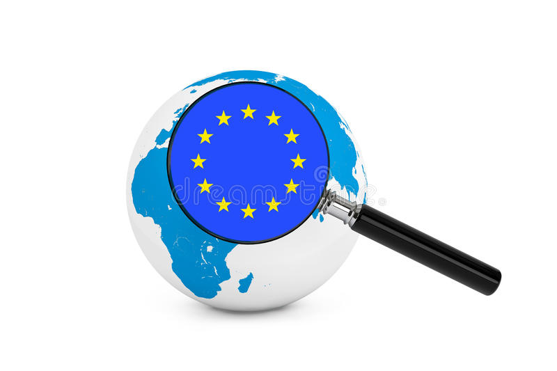 Magnified flag of Europe with Earth Globe. On a white background royalty free stock photo