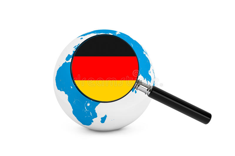 Magnified flag of Germany with Earth Globe. On a white background royalty free stock image