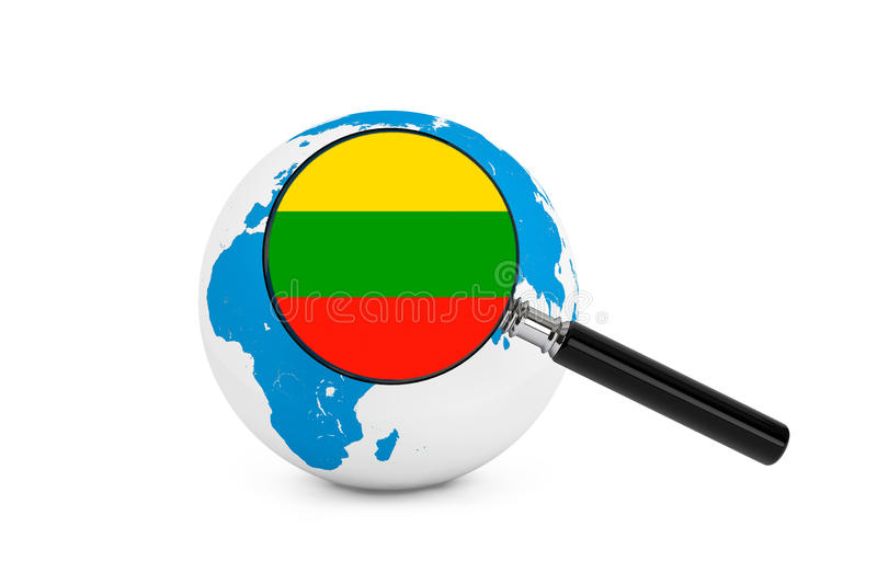 Magnified flag of Lithuania with Earth Globe. On a white background royalty free stock image