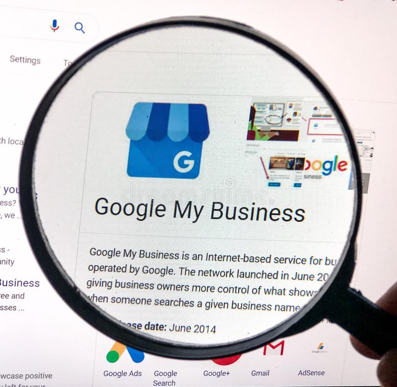 Magnified view of Google My Business listing stock image