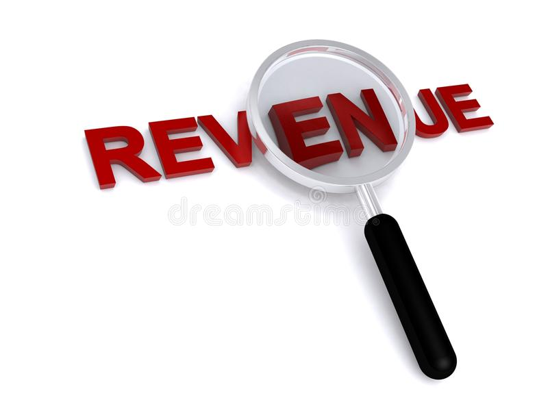 Magnified word revenue. 3d illustration of magnifying glass over word revenue, isolated on white background with copy space stock image